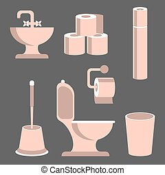 Toilet Elements Set - Toilet supplies, hygiene accessories...