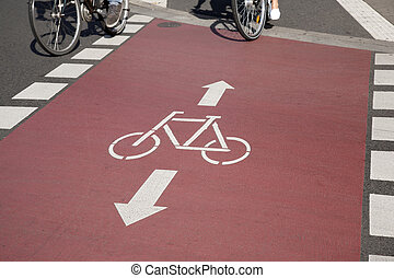 Bike Lane and Cyclists, Bonn, Germany