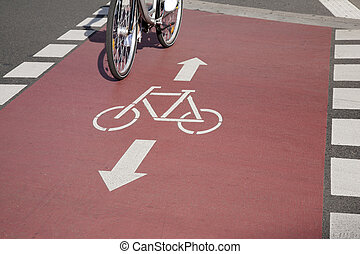Bike Lane and Cyclist, Bonn, Germany