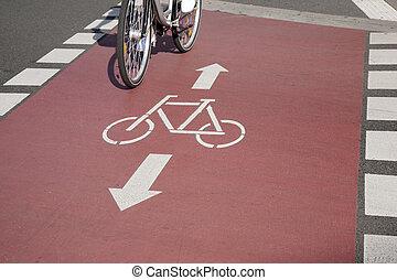 Bike Lane and Cyclist, Bonn, Germany