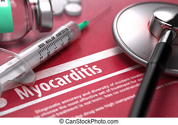 Myocarditis Medical Concept on Red Background - Myocarditis...