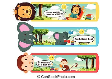 Animal Bookmarks - A vector illustration of