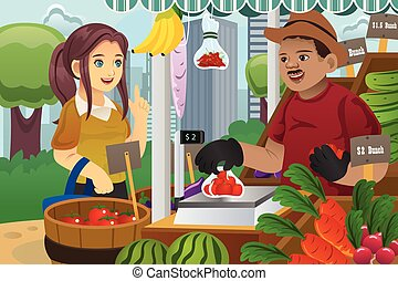 Woman Shopping in a farmers market - A vector illustration...
