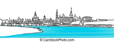 Dresden Panaroma Sketch, colored river Elbe with Augustus...