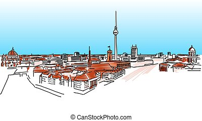 Old and New Berlin, Nikolaiviertel in Foreground and...