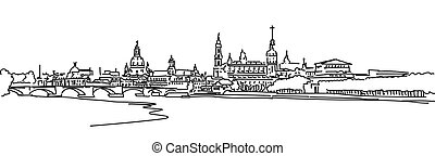 Dresden Panaroma Sketch - Dresden Panorama Sketch with...