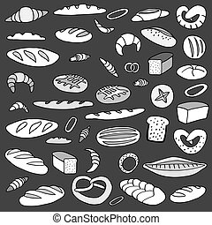 Set of doodles bread - Set of various doodles, hand drawn...