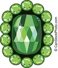 Emerald brooch isolated on white background, vector...