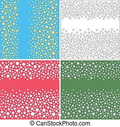 Seamless scattered textures set crystals, rhinestones,...