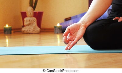 Yoga classes in hall - Lotus on mat during yoga