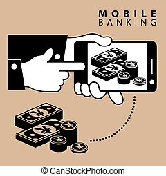 Mobile banking Yen - Mobile banking Phone device and yen...