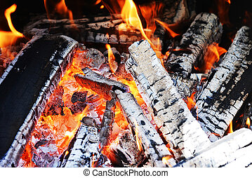 fire in fireplace close up