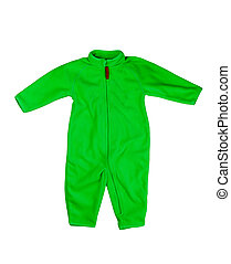 Green rompers fleece Isolate on white