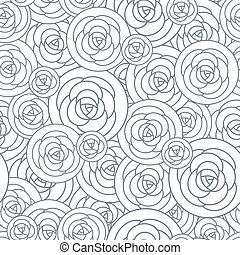 Vector seamless pattern with outline decorative roses. Beautiful floral background, stylish abstract flowers.