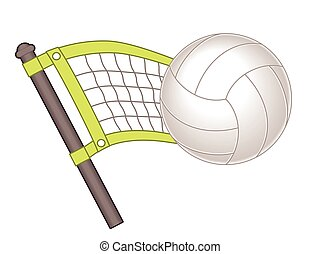 Volleyball with net and ball - partial volleyball net with...