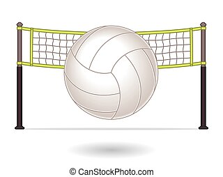 Volleyball with net in background - volleyball in font of...