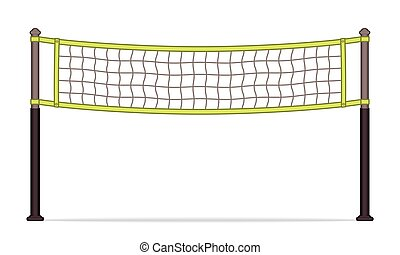 Volleyball net - volleyball net on white background with...
