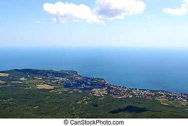 View on Yalta city from the Ai-Petri mountain on Crimean...