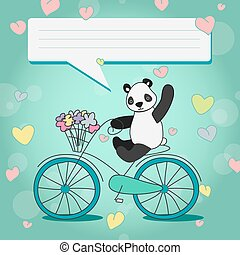 positive Panda with bouquet on Bicycle