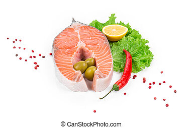 Fresh uncooked salmon steak Isolated on a white background...