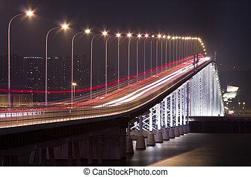 It is  a busy traffic bridge in macau
