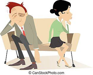 Disappointment - Man and woman in low spirits sit on the...