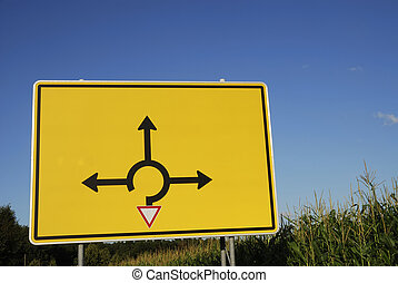 Choose direction - Signpost for the directions in a traffic...