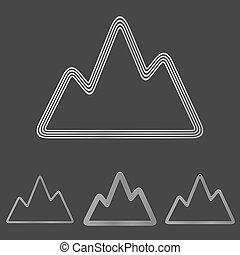 Silver line mountain logo design set