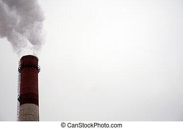 industrial, chimeneas, emits, tóxico, pollutants, en,...