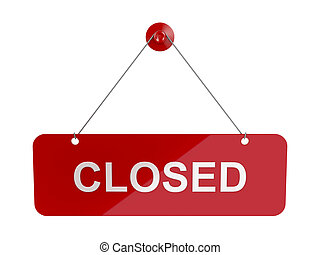 Closed sign door plate - Red hanging door plate with Closed...