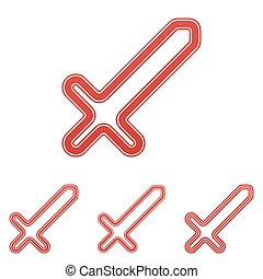 Red line sword logo design set - Red line sword icon logo...