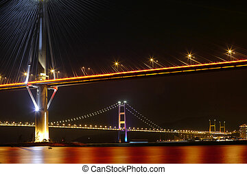 bridges in Hong Kong at night, Ting Kau Bridge and Tsing ma Bridge