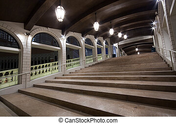 it is a long and wide stair at night