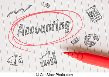 Accounting drawing with a red marker