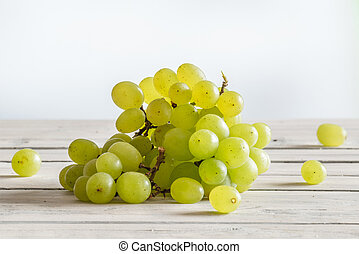Vine grapes on a kitchen table