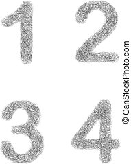 Furry sketch font set - numbers 1, 2, 3, 4