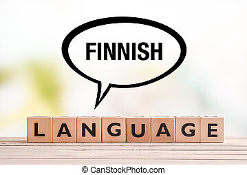 Finnish language lesson sign on a table - Finnish language...