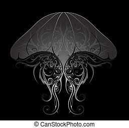 Silver jellyfish illustration - Silver jellyfish with ethnic...