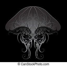 prata, medusa, Ilustração,