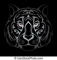 Tiger head illustration - Silver tiger head tattoo shape in...