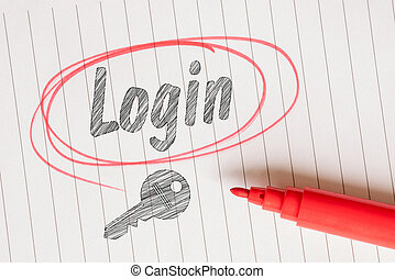Login note with a red circle and a brush