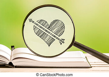 Love search with a pencil drawing of a heart with an arrow...