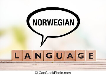 Norwegian language lesson sign on a table - Norwegian...