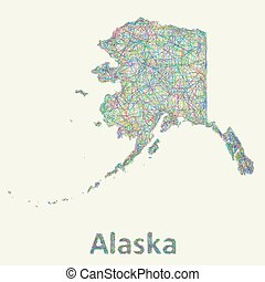 Alaska line art map from colorful curved lines