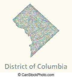 District of Columbia line art map from colorful curved lines