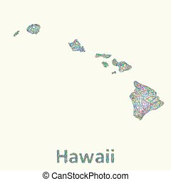 Hawaii line art map from colorful curved lines