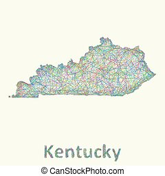 Kentucky line art map from colorful curved lines