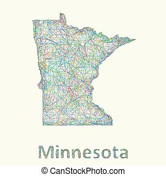 Minnesota line art map from colorful curved lines