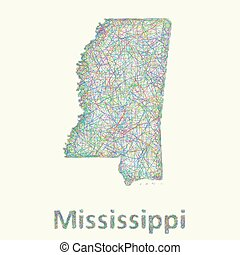 Mississippi line art map from colorful curved lines