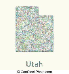 Utah line art map from colorful curved lines